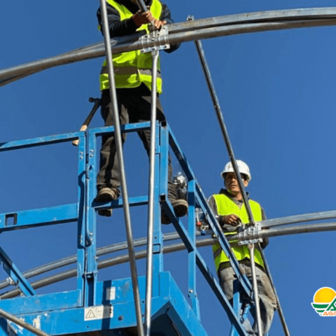 trabajadores en techo de invernadero